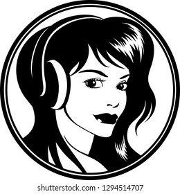 Vector logo illustration of an attractive young woman with headphones.