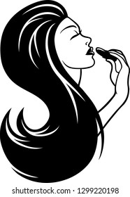 Vector logo illustration of a beautiful young woman with long hair applying a lipstick to her lips.