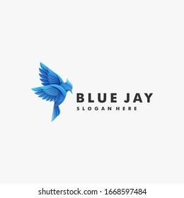 Vector Logo Illustration Bird Blue Jay Gradient Colorful Style.