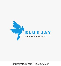 Vector Logo Illustration Bird Blue Jay Silhouette Style.