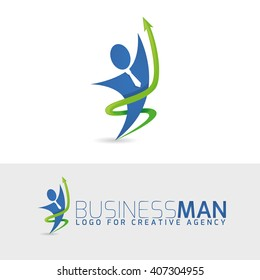 vector logo illustration businessman career success in business. Creative logo for agency.  icon of man with tie