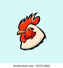 vector logo illustration of a chicken head