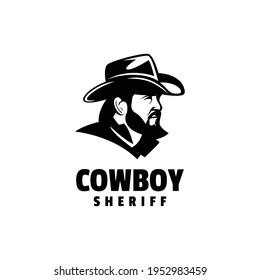 Vector Logo Illustration Cowboy Silhouette Style.