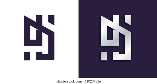 vector logo illustration. DJ abstract letters. cool logo for the DJ party