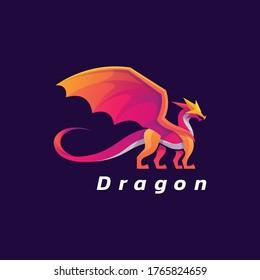 Vector Logo Illustration Dragon Gradient Colorful Style.