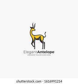 Vector Logo Illustration Elegant Antelope Mascot Cartoon