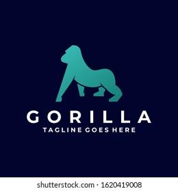 Vector Logo Illustration Gorilla Silhouette Style