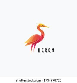 Vector Logo Illustration Heron Gradient Colorful Style.