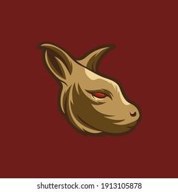 vector logo illustration of kangaroo head