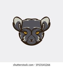 vector logo illustration of a lemur head