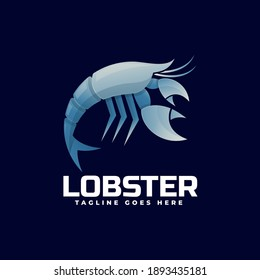 Vector Logo Illustration Lobster Gradient Colorful Style.