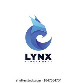 Vector Logo Illustration Lynx Gradient Colorful Style.