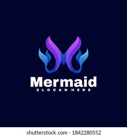 Vector Logo Illustration Mermaid Gradient Colorful Style.