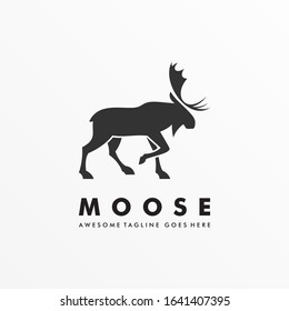 Vector Logo Illustration Moose Deer Walking Silhouette Style