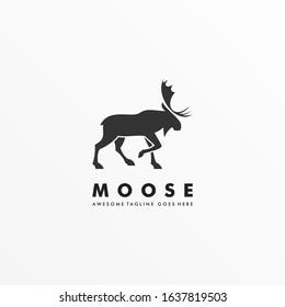 Vector Logo Illustration Moose Pose Silhouette Style