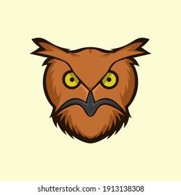 vector logo illustration of an owl's head