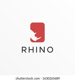 Vector Logo Illustration Rhino With Square Negative Space Style