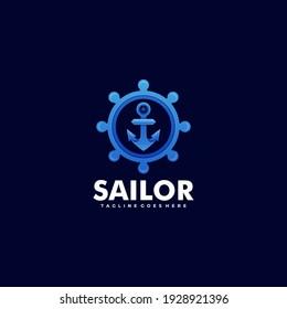Vector Logo Illustration Sailor Gradient Colorful Style.