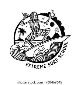 Vector Logo Illustration with Skeleton Surfer. Vintage Surfing Emblem for web design or print. Surfer logo templates. Surf Badge. Surfboard elements.