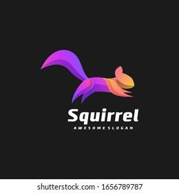 Vector Logo Illustration Squirrel Gradient Colorful Style