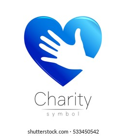 Vector logo illustration. Symbol of Charity. Sign hand heart isolated on white background.Blue Icon company, web, card. Modern bright element. Charity for orphans Help kids campaign. Logotype
