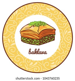 Vector logo illustration for traditional turkish dessert Baklava with pistachio in circle frame with floral ornament. Colored hand drawn doodle object isolated on beige round label with swirls