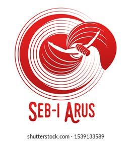 Vector logo illustration. Turkish, Sufi and Dervish Dance. Seb i Arus.