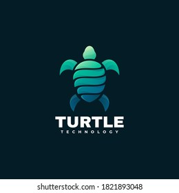 Vector Logo Illustration Turtle Gradient Colorful Style.