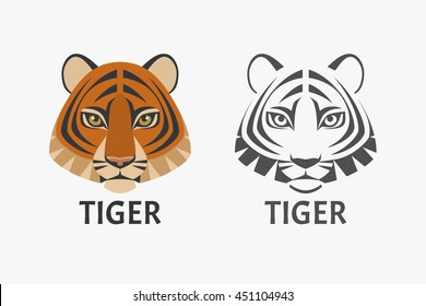 Vector logo with the image of a tiger's head in color and black and white versions, isolated on white background.