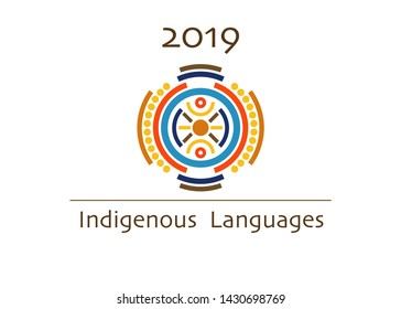 vector logo indigenous languages concept, 2019 international year of indigenous languages. Cultural diversity word cloud concept isolated on white background
