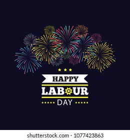Vector logo. International Labor Day. Labor day. The first of May.Greeting card