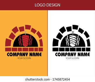 vector logo for a kebab restaurant. simple and modern, black and white.