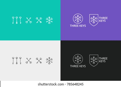 vector logo with keys and shields