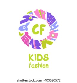 Vector logo for kids fashion. Template for advertising children store and market. Kid dress and baby clothes.