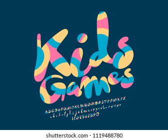 Vector Logo Kids Games. Font with Graphic Style. Colorful bright Alphabet Letters, Numbers and Symbols