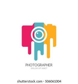Vector logo, label, emblem design template. Isolated digital photo camera with colorful stripes. Concept for photographer, portfolio, photo album and photo app.