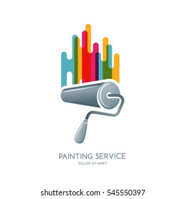 Vector logo, label or emblem design element. Paint roller and multicolor paints isolated icon. Concept for home decoration, building and staining, House painting service, decor and repair.