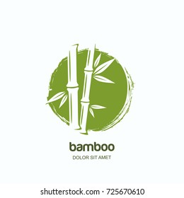 Vector logo, label or emblem with watercolor hand drawn green bamboo plant. Concept for spa and beauty salon, asian massage, cosmetics package, furniture materials.