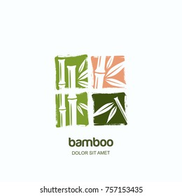 Vector logo, label or square emblem with watercolor hand drawn green bamboo plant details. Concept for spa and beauty salon, asian massage, cosmetics package, furniture materials.