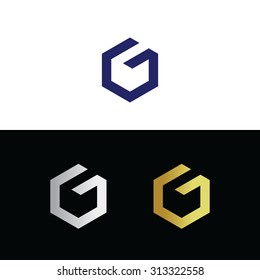 Vector logo with letter G in polygon shape