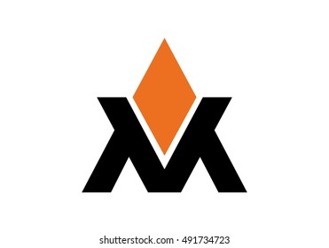 vector logo of letter M and V