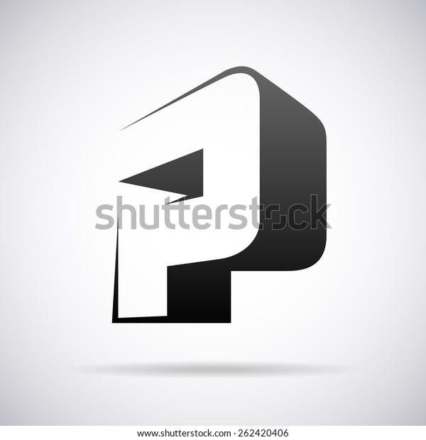 Vector Logo Letter P Design Template Stock Vector (Royalty
