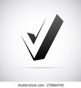 Vector logo for letter V in confirm sign shape