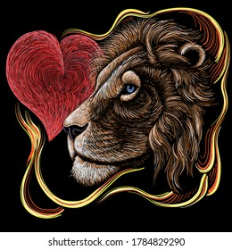 The Vector logo lion for tattoo or T-shirt print design or outwear.  Hunting style lions background. This drawing would be nice to make on the black fabric or canvas.