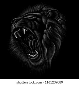 The Vector logo lion for T-shirt design or outwear.  Hunting style lion background.