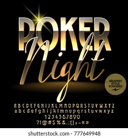 Vector logo Luxury Poker Night. Chic Golden Alphabet Letters, Numbers and Punctuation Symbols. Elite Font with Graphic style