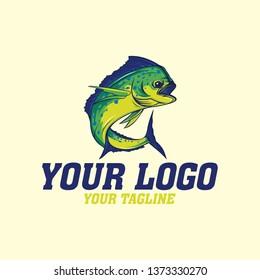 vector logo mahi mahi fishing