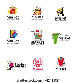vector logo for the market, bags, tape