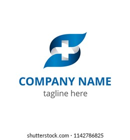 Vector logo for medical center, pharmacy, hospital with recognizable symbol of medicine - cross