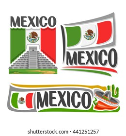 Vector logo Mexico: Mayan pyramid of temple Kukulcan in Chichen Itza, national state flag, symbol Mexico architecture and flag United Mexican States, cactus, sombrero and hot chili pepper